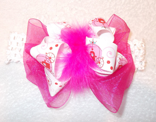 Pink Carriage Princess Big Bow Headband with Marabou Trim by Bizzy Bumpkins