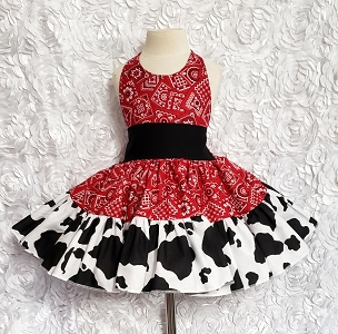 Red Bandana and Cow Print Twirly Halter Dress Sundress Infant Baby Toddler Girls. Summer Sundress Square Dance Dress