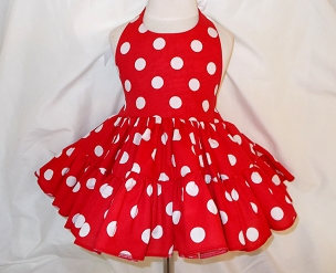 Bizzy Bumpkins Red with White Polka Dots Halter Twirly Square Dance Dress Sundress Infant, Baby, Toddler, and Girls Sizes