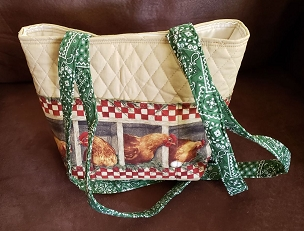 Quilted Sunshine Farms Chicken Print Tote Handbag Purse with Bandana Print Handles. Chicken Farm Print Small Shoulder Bag Purse