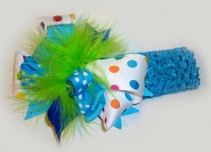 Turquoise, Lime and Party Polka Dot Triple Layer Big Bow Headband. Infant, Toddler and Girls