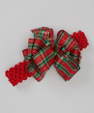 Red and Green Traditional Plaid Holiday Christmas Double Layer Big Bow Headband by Bizzy Bumpkins