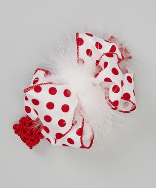 Red and White Flocked Polka dot Ribbon and Marabou Big Bow Headband fits infants, toddlers and girls by Bizzy Bumpkins